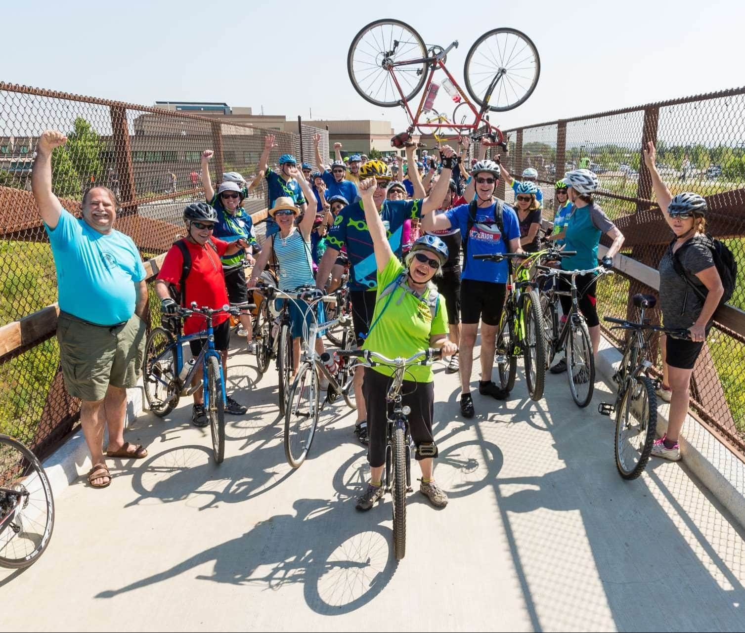 Cyclists celebrating the opening of the US 36 Bikeway from Louisville/Superior to Boulder.