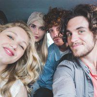 Four people carpool together