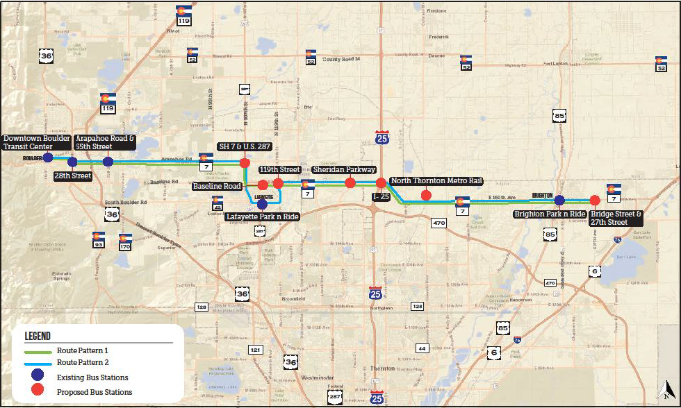 Colorado State Highway 7 Corridor Project Map