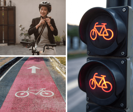 Collage of Bike Safety Elements